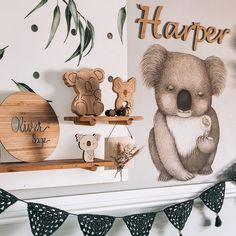 Koala and Australian inspired baby nursery. Enjoy Australia with a themed bedroom for your little one. Featuring our ever so popular Kevin the Koala. He is a gorgeous edition to this space. Koala Nursery, Animal Nursery, Girl Nursery, Boy Girl Room, Boy Rooms, Kids Rooms, Australian Nursery, Space Baby Shower, Baby Room Neutral