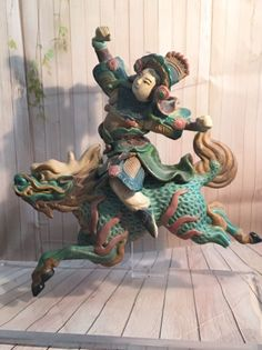 Chinese Pottery Warrior On Foo Dog Roof Tile On Lucite Stand️More Pins Like This At #FOSTERGINGER @ Pinterest️
