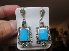 Vintage Hand Crafted 3.10ctw Genuine Turquoise & Marcasite Sterling Silver 925 Post Dangle Earrings, Wt. 11.9g