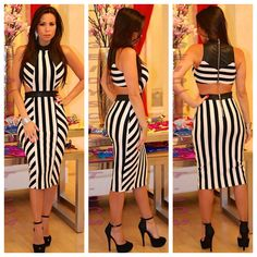 33bcad3e344 Black and white stripe dress with leather back Shop online at  www.geidyscloset me.com Follow us on Instagram Geidysclosetboutique