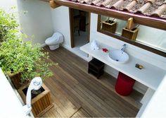 the outdoor bathroom of Villa Adagian, Bali villa bali salle de bain Bali Holidays, Outdoor Bathrooms, Luxury Villa, Bath Caddy, Car Parking, Guest Room, Relax, Outdoor Decor, Hotels