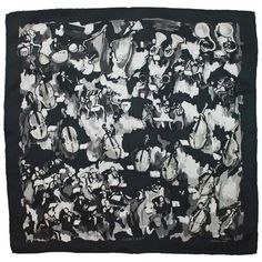 "Preowned Hermes Black And White ""concerto"" Pocket Square Silk Scarf (€220) ❤ liked on Polyvore featuring accessories, scarves, white, black and white scarves, white silk scarves, black and white shawl, white silk shawl and silk shawl"