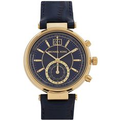 Michael Kors Sawyer navy and gold tone watch ($320) ❤ liked on Polyvore featuring jewelry, watches, stainless steel watches, navy blue watches, chronograph watch, michael kors watches and stainless steel chronograph watch