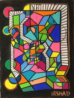 Glow Bubble  Abstract Cubism Painting  Original by AbstractCubism