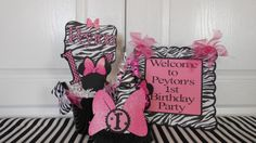 Minnie Mouse Zebra Birthday decorations by ASweetCelebration Zebra Birthday Decorations, Minnie Mouse Party Decorations, Birthday Fun, 1st Birthday Parties, More Cute, Party Package, Handmade Gifts, Project Ideas, Centerpiece