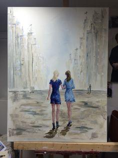 Hedendaagse kunst, vrolijk, stad, vrouwen, meisjes, figuratief, schilderij, New York, Parijs, Amsterdam, Rotterdam, schilderijen, blauw, lichte kleur