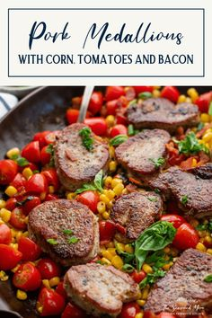 Pan-seared pork medallions with corn, tomatoes, bacon and fresh basil make a quick and easy weeknight dinner! The sliced pork tenderloin cooks in the same skillet as the vegetables for a simple and satisfying dish with minimal cleanup. Serve the juicy, flavorful meat with a side salad and a loaf of crusty bread, pesto pasta or buttermilk biscuits for a delicious, family-friendly supper.