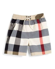 New Classic Check Swim Shorts, Tan, Size 4-14 by Burberry at Neiman Marcus.