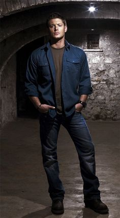 Jensen Ackles, promo for Supernatural as Dean Winchester - some serious bowleg porn goin' on here!