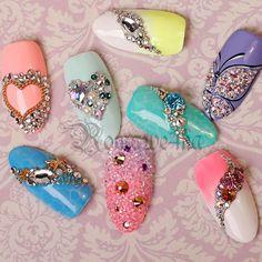 Bling Nail Art, Bling Nails, Swarovski Nails, Rhinestone Nails, Pedicure Nail Art, Nail Manicure, Gorgeous Nails, Pretty Nails, Sculpted Gel Nails