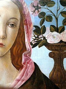 Sandro Botticelli - Detail of Madonna and Child with St. John the Baptist and an angel (c. 1470, National Museum in Warsaw) features Botticelli's linear style emphasized by the soft continual contours and pastel colors