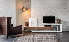 Biało brązowa szafka RTV nowoczesny salon szafka pod telewizor