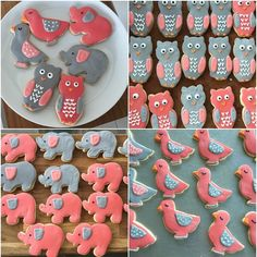 Sugar cookies, I have a new love. Making super cute cookies! Owls, ducks and elephants. Pink and Grey.