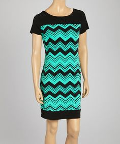 Loving this Black & Turquoise Zigzag Shift Dress on #zulily! #zulilyfinds