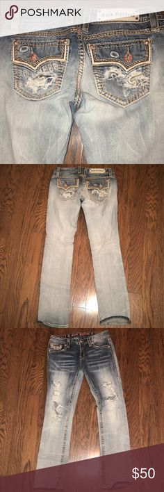 """Rock Revival Straight No patches behind holes, 32"""" regular inseam! Rock Revival Jeans Straight Leg"""