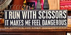 Great sign for sewists and needleworkers, available at Strawberry Patches in Bakersfield, CA. Me Quotes, Funny Quotes, Sewing Humor, Quilting Quotes, Sewing Quotes, Living On The Edge, My Sewing Room, Funny Signs, Wall Signs