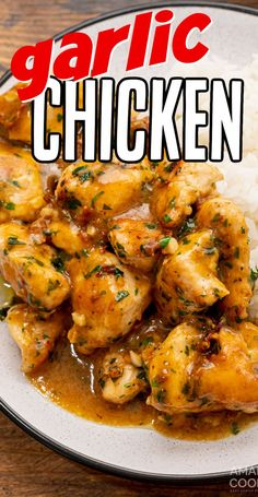 This garlic chicken will be the newest addition to your weekly recipe rotation! It's easy enough to cook in less than 30 minutes and is always a crowd pleaser! Garlic Chicken Recipes, Meat Recipes, Cooker Recipes, Healthy Recipes, Food Dishes, Main Dishes, Delicious Dinner Recipes, It's Easy, Lunches