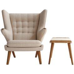 Hans J. Wegner Oak Papa Bear Chair with Stool, A. P. Stolen