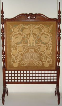 Flowerpot Firescreen (1890) Morris & Co. embroidered firescreen, the mahogany frame designed by George Jack, the Flowerpot panel designed by William Morris, and finely worked in silk. #morris
