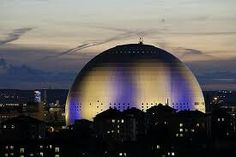 Globen Arena, Stockholm, Sweden, blue and yellow lihgted.