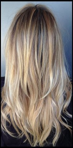 Back :: Long side bangs. Gap with longer layers. Superfine blonde highlights…
