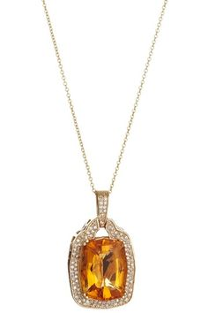 Yellow gold diamond and citrene necklace