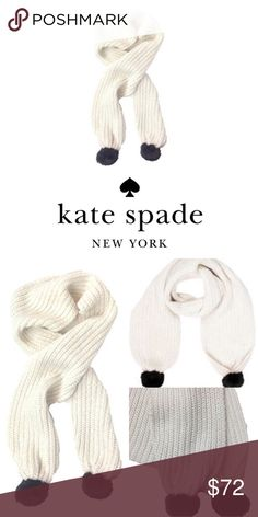 Kate Spade Off White Lux Metallic Thread Pom Scarf 🎁Price firm                                                                                🔑Bundle to save                                                                                                    👍Like for price drop notifications                                                                                             Lux wool blend Pom scarf, metallic threading for a shimmering effect. 70% polyamide, 17% wool, 9% mohair, 4%…