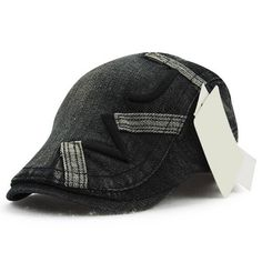 Stylish Letter Shape Embroidery Do Old Denim Fabric Cabbie Hat #shoes, #jewelry, #women, #men, #hats, #watches, #belts