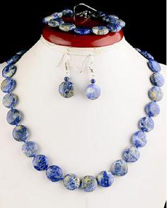 set of blue lapis lazuli natural stone earrings by artbracelets