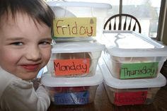 Day of the week toy bins; that way the little ones don't get bored of their toys.  only play with some toys once a week and the toys seem 'new' longer.