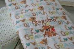 Blessing teddy bear burp cloth and green by ShuhpuppyAndDeppy, $10.00