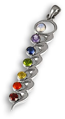 Chakra Wave Pendant in sterling silver with faceted crystals.
