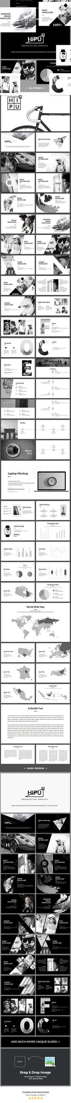 Buy HIPU - Black White Presentation Template by MasdikaStudio on GraphicRiver. Overview HIPU – Black White Powerpoint Template has a professional, ultra-modern and unique design, where each slide . Powerpoint Themes, Business Powerpoint Templates, Powerpoint Presentation Templates, Keynote Template, Web Design, Slide Design, Graphic Design Layouts, Brochure Design, Design Presentation