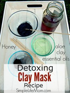 Detoxing Face Mask Recipe with aloe vera, raw honey, activated charcoal, bentonite clay, essential oils, and other nourishing oils.Detox natural and organic