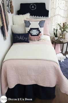 We are swooning over this boho vibe teen bedding. Our best selling blush pink quilt pairs with solid navy, ivory linen and furs, and a pink & navy boho accent pillow that is textured and unique. This designer Magnolia Home by Joanna Gaines (think fixe
