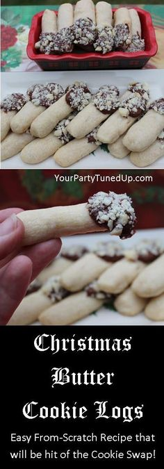 These Milk Chocolate Tipped Christmas Butter Cookie Logs are a buttery, delicious from-scratch recipe that's actually simple and fun to make. One of my most popular at cookie swaps and parties -- also a great gift from the kitchen! Cookie Desserts, Holiday Desserts, Holiday Baking, Holiday Treats, Holiday Recipes, Christmas Recipes, Baking Desserts, Baking Recipes, Dessert Recipes