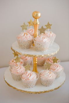 Baby Shower Girl Cake Tutu Birthday Parties Ideas For 2019 - Cupcakes First Birthday Cupcakes, Pink And Gold Birthday Party, Baby Girl First Birthday, Birthday Cake Girls, Birthday Parties, Gold Party, Birthday Party Ideas, 1st Birthday Girl Decorations, Birthday Centerpieces