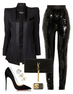 """""""Holiday Glam 3"""" by dnicoleg ❤ liked on Polyvore featuring Balmain, Jason Wu, Yves Saint Laurent and Christian Louboutin perfect for New Years Eve"""