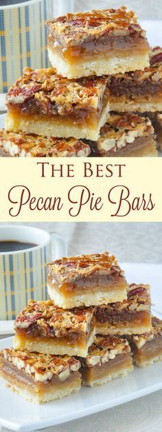 The Best Pecan Pie Bars - this easy recipe includes a simple shortbread bottom and a one bowl mix & pour topping. Tips for baking and cutting them are included. They freeze well too, so they are the perfect treat for Thanksgiving or Christmas.