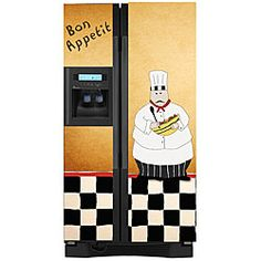 @Overstock - The whimsical magnetic refrigerator cover adds a unique decorative touch to any kitchen. The chef-themed cover is easy to apply and can be trimmed to fit any refrigerator. It not only adds flare, but also helps protect your appliance.http://www.overstock.com/Home-Garden/Appliance-Art-Chef-Refrigerator-Cover/5306127/product.html?CID=214117 $54.99