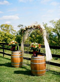 Arch with Barrels for a Vineyard Wedding