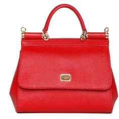 DOLCE & GABBANA 'SICILY' LEATHER SMALL TOTE BAG ($1,095) ❤ liked on Polyvore featuring bags, handbags, tote bags, red tote bag, red tote, leather handbags, tote purses and tote handbags