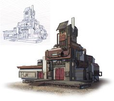 ArtStation - architecture practice②, D M-K Cyberpunk Anime, Anime City, House Sketch, Small Buildings, Lego City, Great Pictures, Art Reference, Concept Art, Scenery