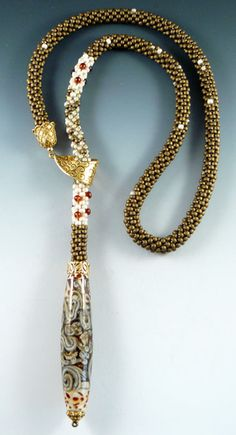 Rona Loomis bead crochet slide necklace - beautiful way to show off this lovely bead