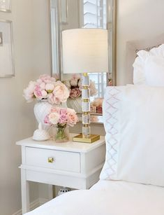 Flower Home by Drew Barrymore – The Decor Diet White ginger jar, faux pink peonies nightstand glam bedroom Glam Bedroom, Home Bedroom, French Bedroom Decor, Bedroom Ideas, Ikea Bedroom, Stylish Bedroom, Bedroom Inspo, Bedroom Furniture, Master Bedroom