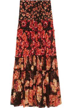 Lanvin | Floral-print devoré-chiffon maxi skirt | NET-A-PORTER.COM