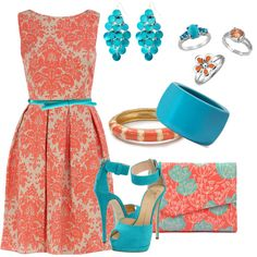 Coral and Turquoise. color combo. Possible items to wear to showers or rehearsal :) - Lauren's Wedding