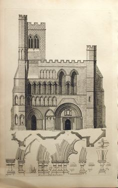 1845 Rare Large English Antique Engraving of west front and details of the Dunstable Priory Church in Bedfordshire, England.