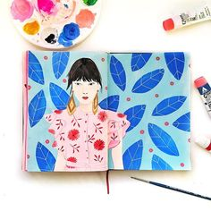 Someone commented that they really loved the pages with my girls which made me realise I hadn't painted one in ages even though I love painting them!! Wish I could pull off gorgeous drop earrings like these. Sketchbook spread by Melanie Miles @melaniemilesdesign #pattern #Sketchbook #surfacepatterndesign #fashionillustration