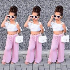 Toddler Kids Girls Lace Stripe Off Shoulder Crop Top Pants Set Clothes Summer US – Diva Wear Cute Little Girls Outfits, Girls Summer Outfits, Little Girl Fashion, Toddler Girl Outfits, Baby Girl Dresses, Baby Outfits, Toddler Fashion, Fashion Kids, Baby Girls